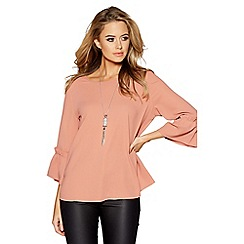 Quiz - Terracotta frill sleeve necklace top