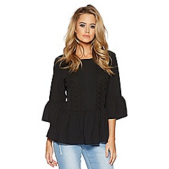 Quiz - Black crochet frill sleeves top