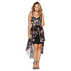Quiz - Black Floral chiffon dip hem dress