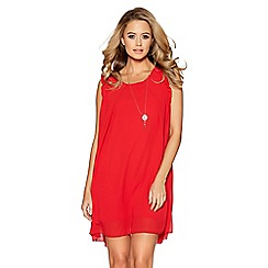 Quiz - Red frill shoulder necklace tunic dress