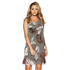 Quiz - Khaki bird print chiffon shift dress
