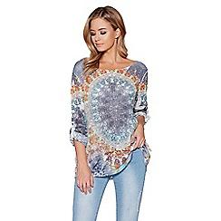 Quiz - Tie dye flower print 3/4 sleeves top