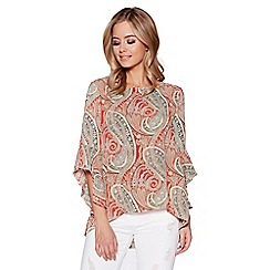 Quiz - Orange Paisley Print Frill Sleeve Top