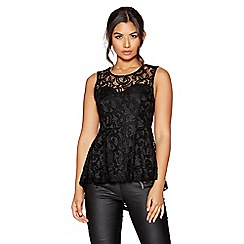 Quiz - Black lace sweetheart neck peplum top