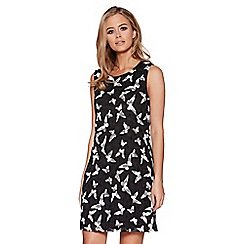 Quiz - Black and white mesh butterfly tunic dress