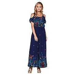 Quiz - Navy and multi floral print maxi dress