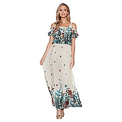 Quiz - White and multi floral print maxi dress