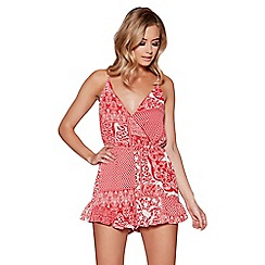 Quiz - Red and white print cross over front playsuit