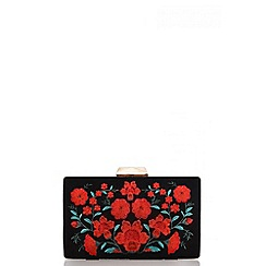 Quiz - Black rose embroidered box clutch bag