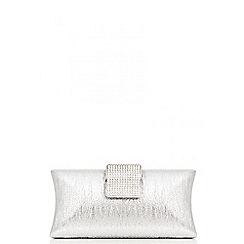 Quiz - Silver diamante bar box bag