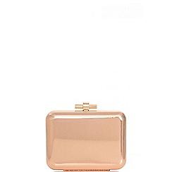 Quiz - Gold metallic ribbed box bag