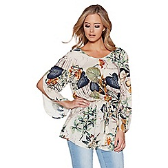 Quiz - White and multi floral print long sleeves top