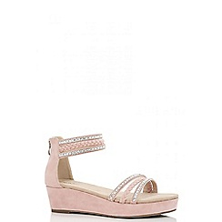 Quiz - Pink diamante rope trim wedges