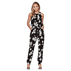 Quiz - Black and yellow floral print high neck jumpsuit
