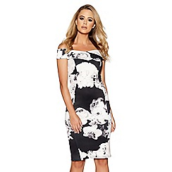 Quiz - Black and cream floral print bardot dress