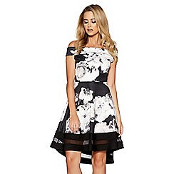 Quiz - Black and cream floral print bardot skater dress