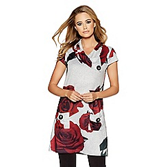 Quiz - Grey light knit rose print tunic dress