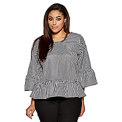 Quiz - Curve black and white gingham top