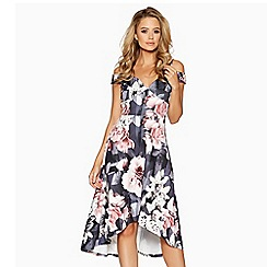 Quiz - Grey and pink floral print dip hem dress