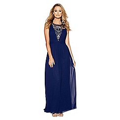 Quiz - Navy diamante embellished v-neck maxi dress