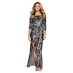 Quiz - Grey flower sequin bardot maxi dress