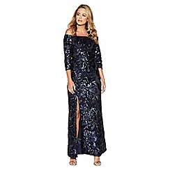 Quiz - Navy flower sequin bardot maxi dress