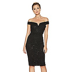 Quiz - Black sequin v-bar midi dress
