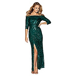 Quiz - Dark green sequin bardot front split maxi dress
