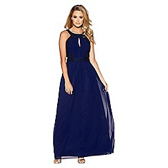 Quiz - Navy chiffon embellished maxi dress