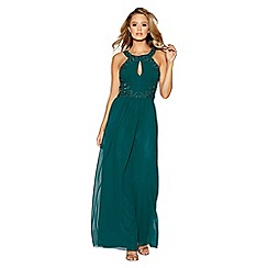 Quiz - Bottle green chiffon embellished maxi dress