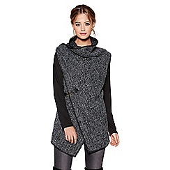 Quiz - Black and grey knit cross over long sleeve cardigan