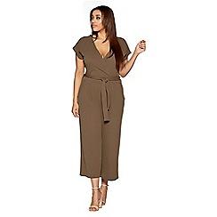 Quiz - Curve khaki crepe wrap front culotte jumpsuit