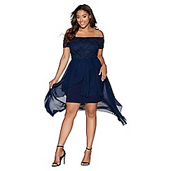 Quiz - Curve navy glitter lace dip hem dress