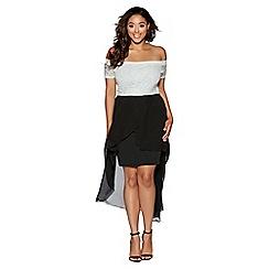 Quiz - Curve cream and black glitter lace dip hem dress