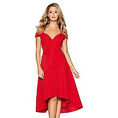 Quiz - Red sweetheart neck strappy bardot dress