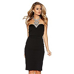 Quiz - Black and silver diamante trim midi dress