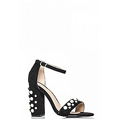 Quiz - Black pearl block heel barely there sandals