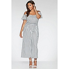 Quiz - Curve Navy and White Crepe Stripe Frill Culotte Jumpsuit