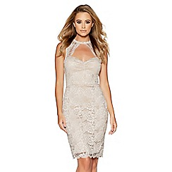 Quiz - Champagne lace scallop midi dress