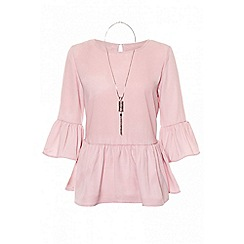 Quiz - Pink frill sleeves necklace top