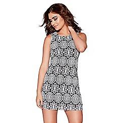 Quiz - Black and white lace print bodycon dress