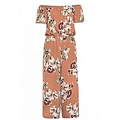 Quiz - Terracotta and cream floral print bardot culotte jumpsuit