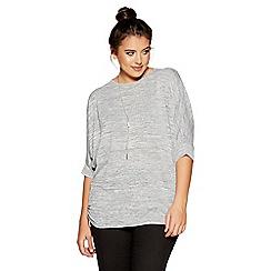 Quiz - Curve khaki light knit batwing necklace top