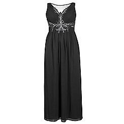 Quiz - Curve black chiffon embellished keyhole maxi dress