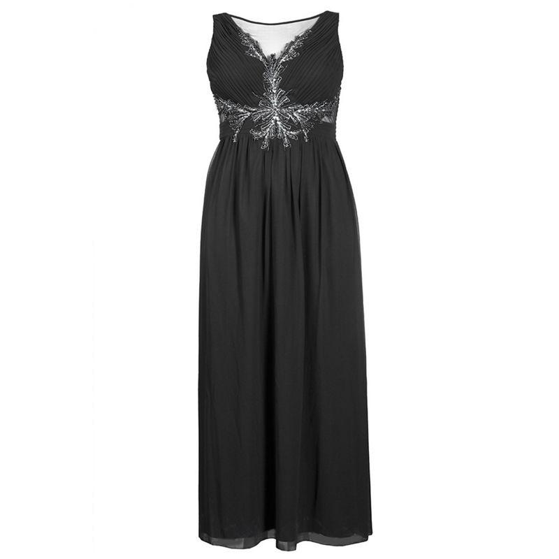Quiz Curve black chiffon embellished keyhole maxi dress
