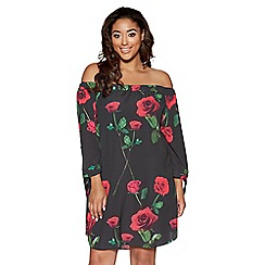 Quiz - Curve black and red rose print bardot tunic dress