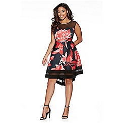 Quiz - Curve black and red floral print dip hem dress