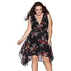 Quiz - Curve black chiffon floral print wrap front dress