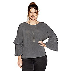Quiz - Curve charcoal light knit frill sleeve top