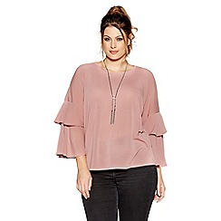 Quiz - Curve dusty pink light knit frill sleeve top
